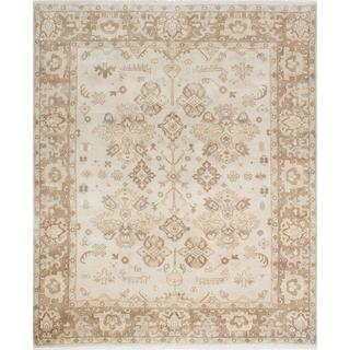 ecarpetgallery Hand-Knotted Royal Ushak Beige, Grey Wool Rug (8'1 x 9'10)