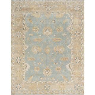 ecarpetgallery Hand-Knotted Royal Ushak Blue Wool Rug (9'1 x 11'9)