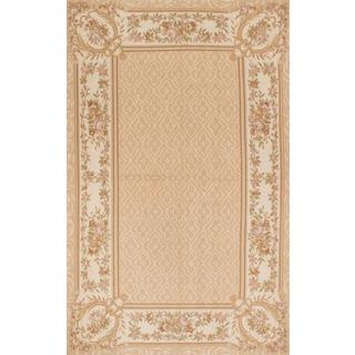 ecarpetgallery Hand-Knotted French Tapestry Beige Wool Sumak (4'11 x 8'0)