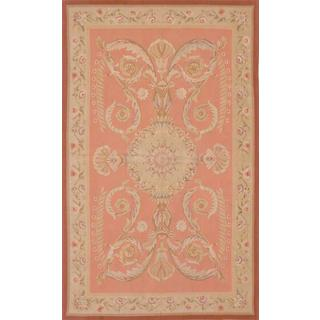 ecarpetgallery Hand-Knotted French Tapestry Pink Wool Sumak (4'10 x 8'0)