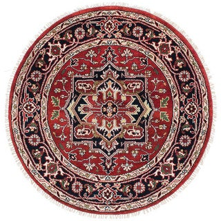 ecarpetgallery Hand-Knotted Serapi Heritage Red Wool Rug (4'11 x 4'11)