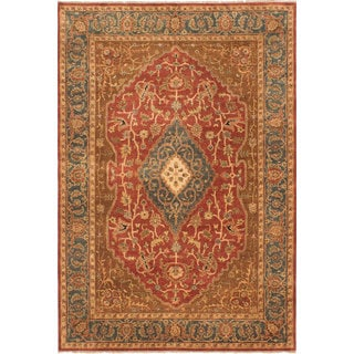 ecarpetgallery Hand-Knotted Jamshidpour Brown, Orange Wool Rug (6'0 x 8'10)