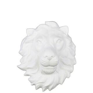 Ceramic Lion Head Wall Decor Matte Finish White