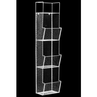 Coated White Finish Metal 3-Bin and Top Shelf Wall Rack with Mesh Sides