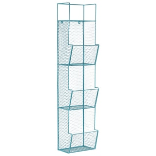 Metal Wall Rack with Mesh Sides, 3 Bins and Top Shelf Coated Finish Turquoise