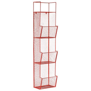 Metal Wall Rack with Mesh Sides, 3 Bins and Top Shelf Coated Finish Red