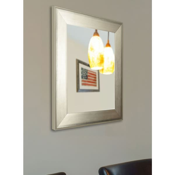 American Made Rayne Brushed Silver Vanity Wall Mirror - Antique Silver