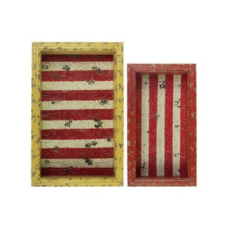 Distressed Wood Red and Yellow Rectangular Shadow Box with Striped Red Backing (Set of 2)