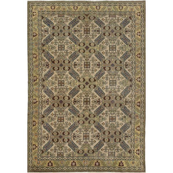 ecarpetgallery Hand-Knotted Keisari Beige Wool Rug (6'4 x 9'6)