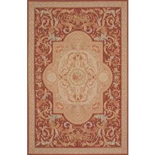 ecarpetgallery Hand-Knotted French Tapestry Beige, Orange Wool Sumak (6'6 x 10'0)