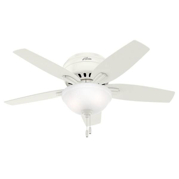 """Hunter 42"""" Newsome Low Profile Ceiling Fan with LED Light Kit and Pull Chain - Fresh White"""