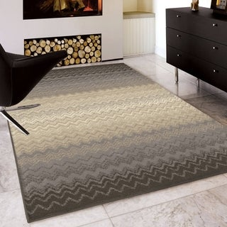 Carolina Weavers Serenity Collection Ombre Zig Zag Gray Area Rug (7'10 x 10'10)