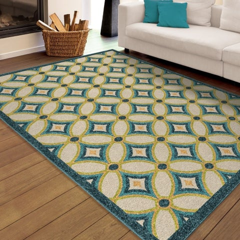 "Carolina Weavers Indoor/Outdoor Santa Barbara Collection Marzana Multi Area Rug (7'8 x 10'10) - 7'8"" x 10'10"""