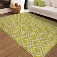 "Carolina Weavers Indoor/Outdoor Santa Barbara Collection Speckled Diamonds Green Area Rug (7'8 x 10' - 7'8"" x 1'1"""