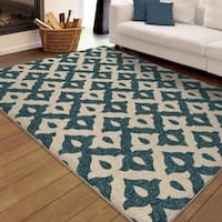 "Carolina Weavers Indoor/Outdoor Santa Barbara Collection Mayan Trellis Blue Area Rug - 7'8"" x 10'10"""