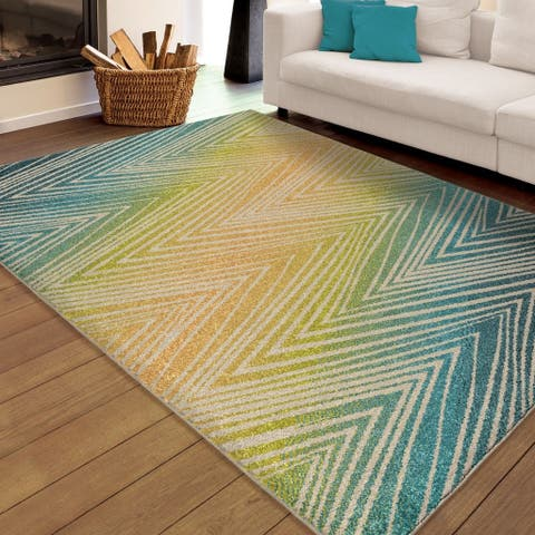 "Carolina Weavers Indoor/Outdoor Santa Barbara Collection Odle Zig Zag Multi Area Rug (7'8 x 10'10) - 7'8"" x 10'10"""