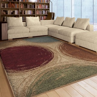 Carolina Weavers Riveting Shag Collection Depicted Circles Multi Shag Area Rug (7'10 x 10'10)