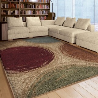 "Carolina Weavers Riveting Shag Collection Depicted Circles Multi Shag Area Rug - 7'10"" x 10'10"""