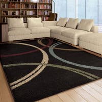 "Carolina Weavers Riveting Shag Collection Kensington Black Shag Area Rug (7'10 x 10'10) - 7'10"" x 10'10"""