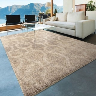 """Carolina Weavers Dignified Shag Collection Chainmail Ivory Shag Area Rug (7'10 x 10'10) - 7'10"""" x 10'10"""""""