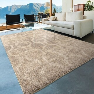 Carolina Weavers Dignified Shag Collection Chainmail Ivory Area Rug (7'10 x 10'10)