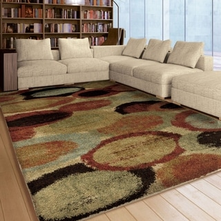 Carolina Weavers Dignified Shag Collection Marbled Layers Multi Shag Area Rug (7'10 x 10'10)