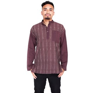 Men's Om Stripe Zenley Long Sleeve Shirt|https://ak1.ostkcdn.com/images/products/11608410/P18545931.jpg?impolicy=medium