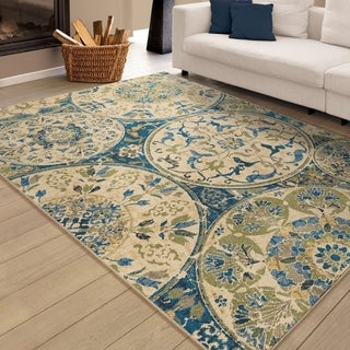 Carolina Weavers Celebration Collection Crystal Vase Blue Area Rug (7'10 x 10'10)