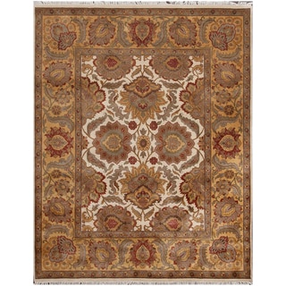 """ABC Accent Jaipur Floral Hand Knotted Beige Rug (10""""x15"""")"""