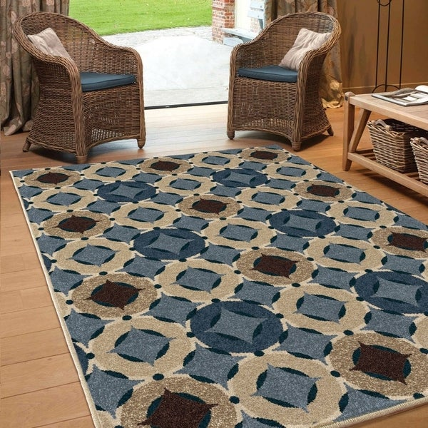 "Carolina Weavers Bermuda Collection Angel Blue Area Rug - 7'8"" x 10'10"""