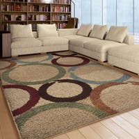 "Carolina Weavers Riveting Shag Collection Marked Rings Multi Shag Area Rug - 7'10"" x 10'10"""