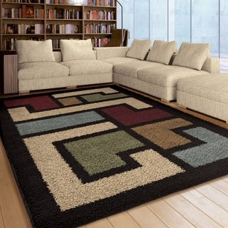 Carolina Weavers Comfy and CozyRiveting Shag Collection Mazed Up Multi Shag Area Rug (7'10 x 10'10)