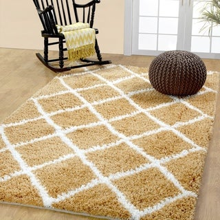 Soft and Cozy Trellis Shag Area Rugs by Affinity Home - 3' x 5'