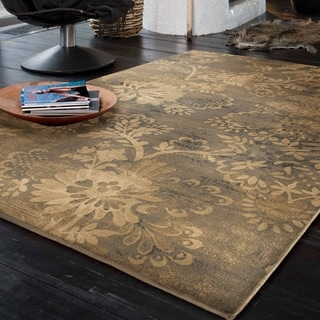 "Carolina Weavers Modern Floral French Gardens Beige Area Rug (7'10"" x 10'10"")"