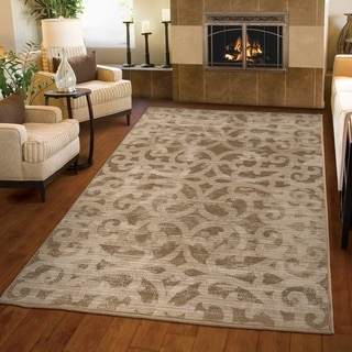 Carolina Weavers Ornate Expressions Collection Hayter Beige Area Rug (7'10 x 10'10)