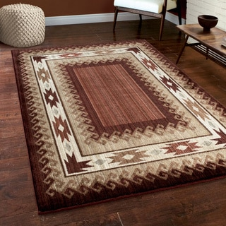 "Carolina Weavers Log Cabin Lodge Glendale Rust Area Rug (7'10"" x 10'10"")"
