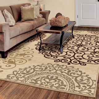 Carolina Weavers Ornate Expressions Collection Shifting Scrolls Ivory Area Rug (6'7 x 9'8)