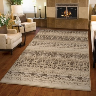 "Carolina Weavers Ornate Expressions Collection Kingston Beige Area Rug (7'10 x 10'10) - 7'10"" x 10'10"""