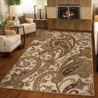 "Carolina Weavers Unique Paisley Tansy Cream Area Rug (7'10"" x 10'10"")"