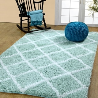 Soft and Cozy Trellis Shag Area Rugs by Affinity Home (4 'x 6')
