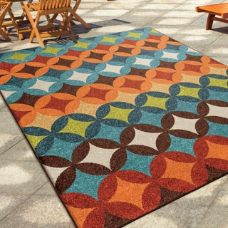 "Carolina Weavers Indoor/Outdoor Geo Bancroft Multi Area Rug (5'2"" x 7'6"")"