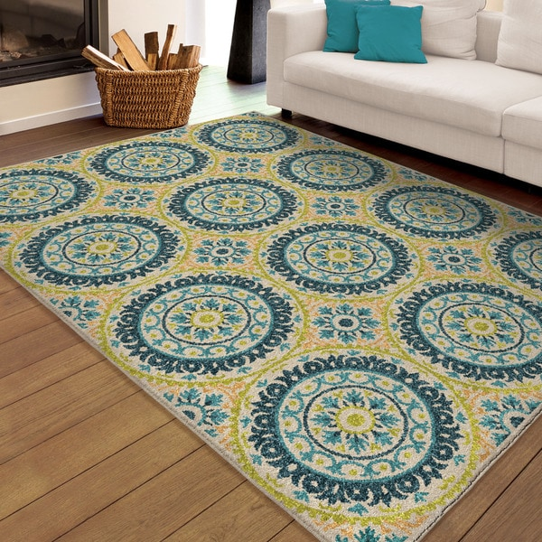 Shop Indoor Outdoor Rising Sun Ivory Blue Rug By Carolina