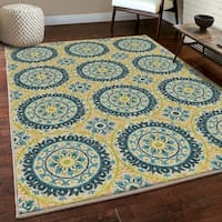 Indoor/Outdoor Rising Sun Ivory/ Blue Rug By Carolina Weavers