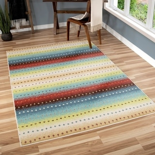 Carolina Weavers Indoor/Outdoor Santa Barbara Collection Sarthe Stripes Multi Area Rug (5'2 x 7'6)