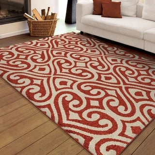 "Carolina Weavers Indoor/Outdoor Damask Elloree Red Area Rug (5'2"" x 7'6"")"