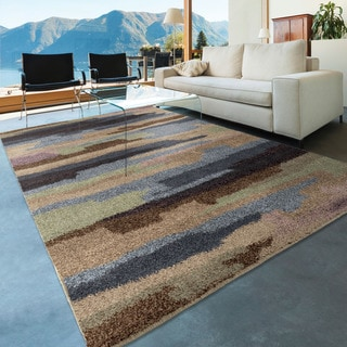Carolina Weavers Comfy and Cozy Grand Comfort Collection Cracked Sky Multi Shag Area Rug (5'3 x 7'6)