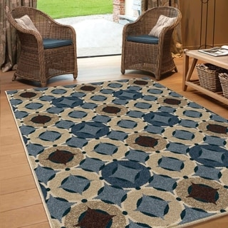 """Carolina Weavers Indoor/Outdoor Geo Angel Blue Area Rug (5'2"""" x 7'6"""")"""