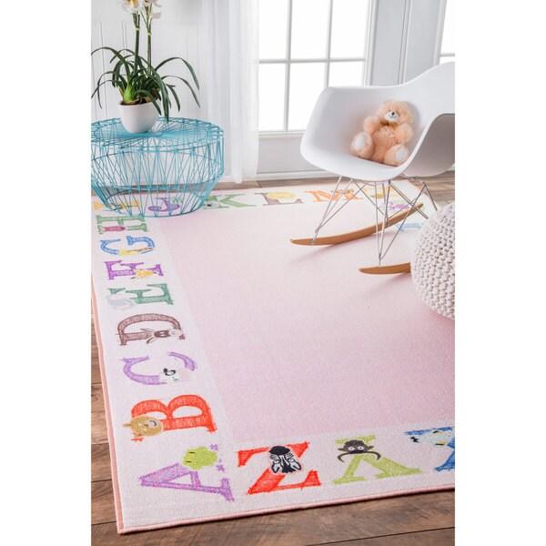Nuloom Alphabet Border Kids Nursery Baby Pink Rug 3 39 3 X 5