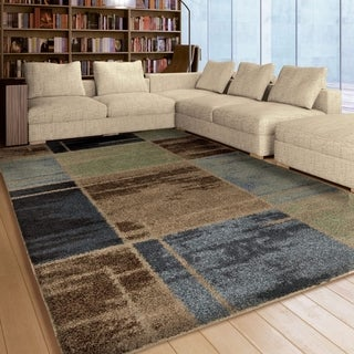 "Carolina Weavers Plush Squares Fleet Blue Area Rug (5'3"" x 7'6"")"