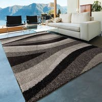 Carolina Weavers Dignified Shag Collection Spout Black Shag Area Rug (5'3 x 7'6)